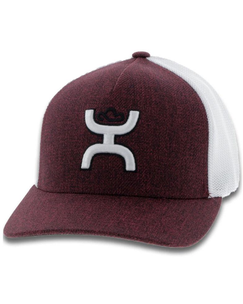 HOOey Men's Maroon Coach Logo Mesh Flex Fit Cap , Maroon, hi-res