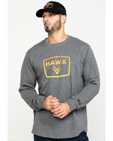 Hawx Men's Grey Box Logo Graphic Thermal Long Sleeve Work Shirt , Charcoal, hi-res
