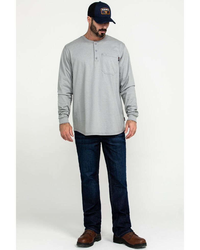 Hawx Men's FR Pocket Henley Long Sleeve Work Shirt - Tall , Silver, hi-res