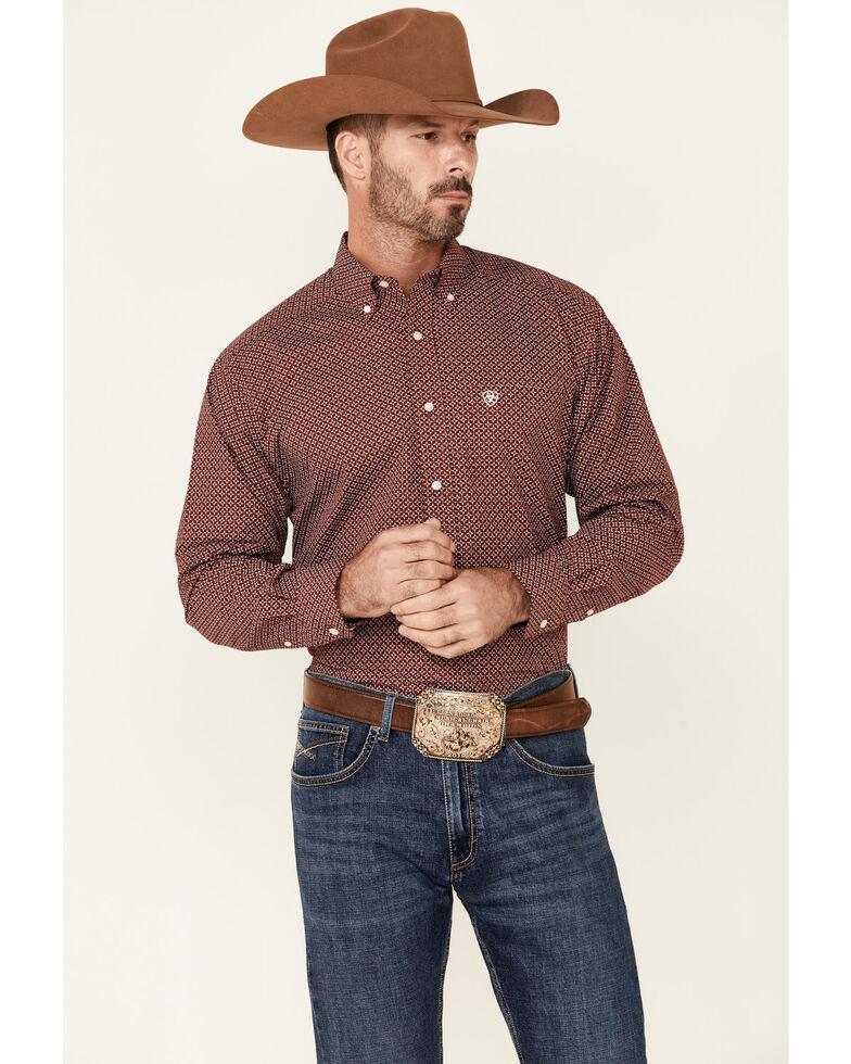 Ariat Men's Ferris Small Geo Print Long Sleeve Button-Down Western Shirt , Black, hi-res