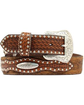 Nocona Basketweave & Studded Billets Hair-on-Hide Belt, Tan, hi-res