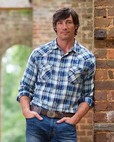 Ryan Michael Men's Blue Pick Stitch Plaid Shirt , Indigo, hi-res