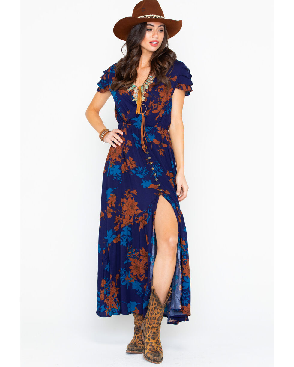 Sadie and Sage Women's Light Of The Moon Ruffle Short Sleeve Maxi Dress, Navy, hi-res