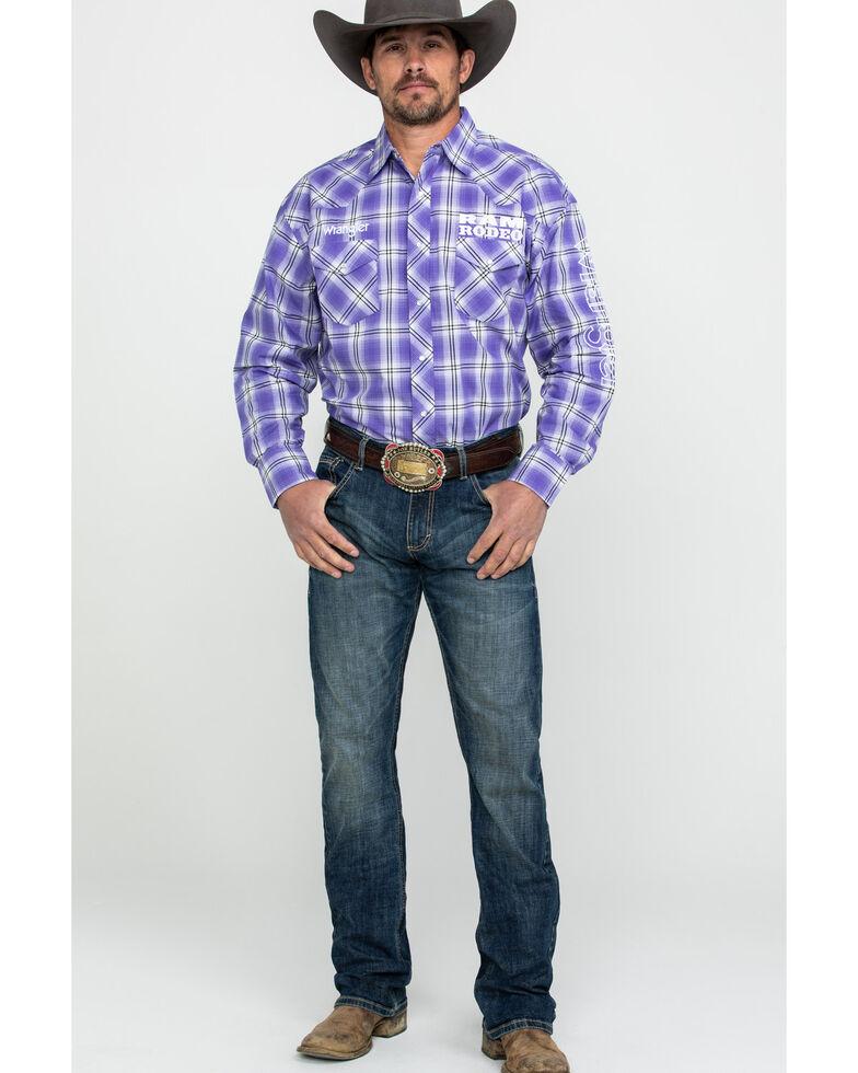 Wrangler Men's Ram Logo Med Plaid Long Sleeve Western Shirt , Purple, hi-res