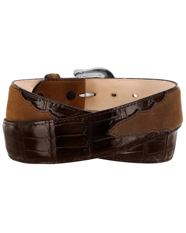 Tony Lama Men's Georgetown Croc Leather Belt, Dark Brown, hi-res