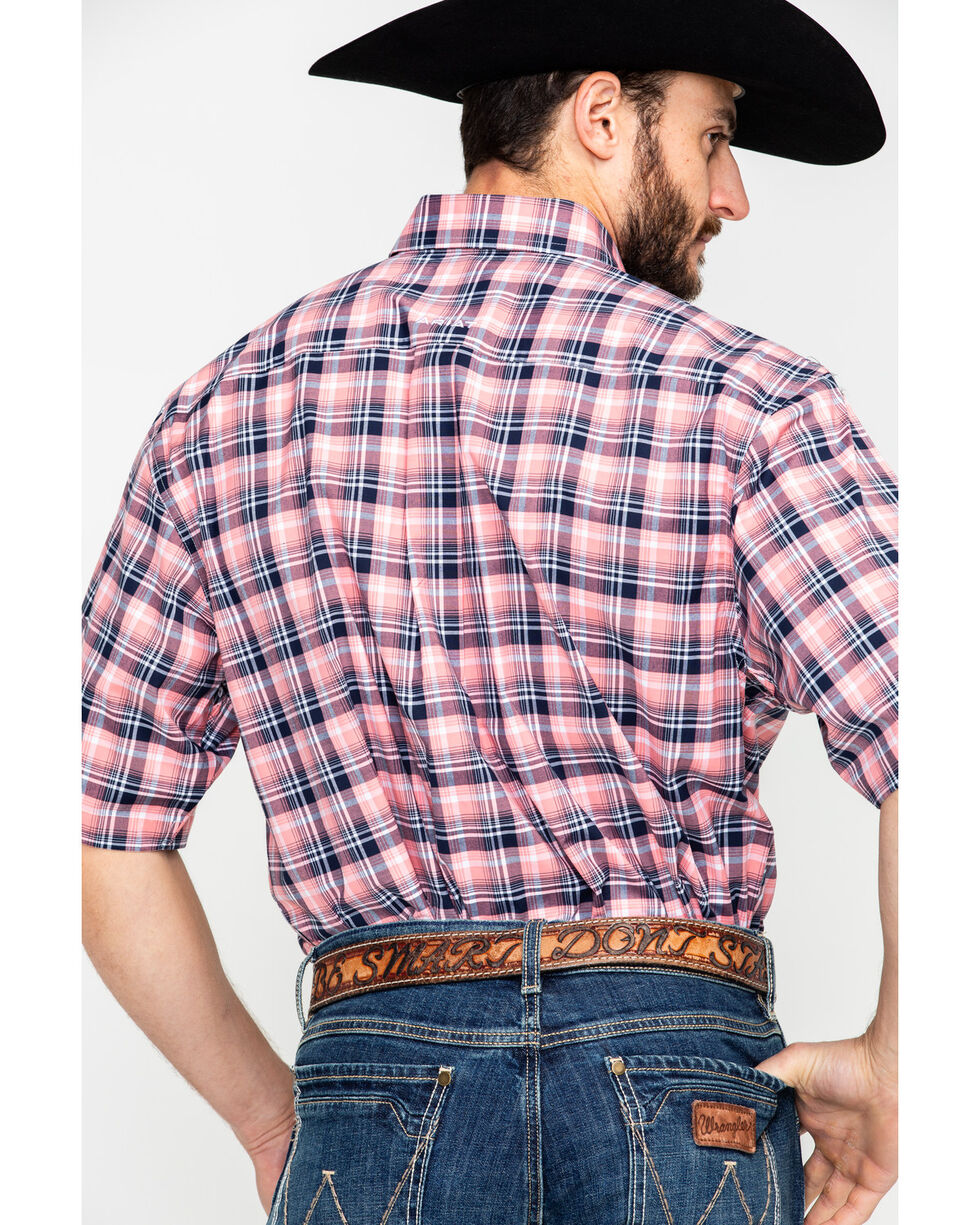 Ariat Men's Dillon Stretch Plaid Short Sleeve Western Shirt  , Pink, hi-res