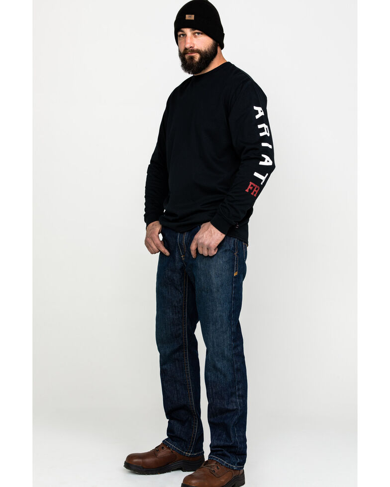Ariat Men's FR Roughneck Skull Logo Crew Long Sleeve Work Tee, Black, hi-res