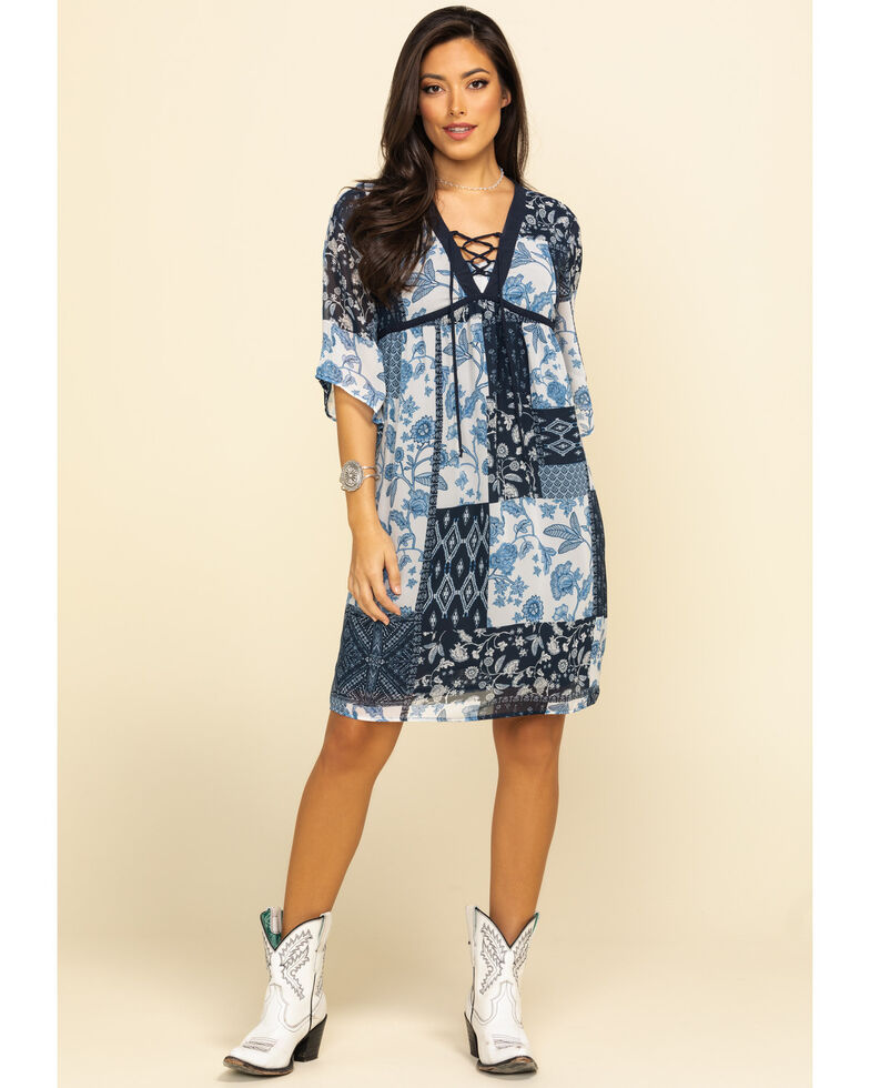 Studio West Women's Blue Patchwork Dress, Blue, hi-res