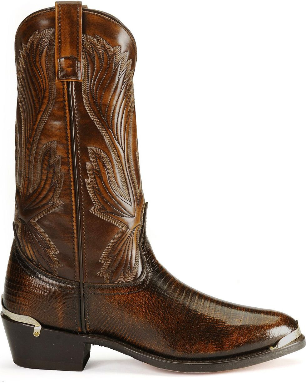 Laredo Men's New York Lizard Print Western Boots, Cognac, hi-res