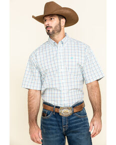 Cinch Men's White Plaid Long Sleeve Western Shirt - Big , White, hi-res