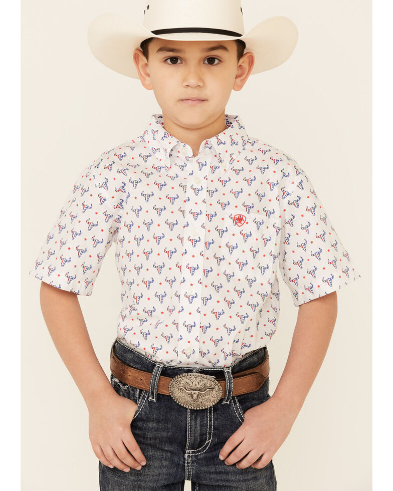 Ariat Boys' Brewer Americana Bull Print Short Sleeve Button Western Shirt , White, hi-res