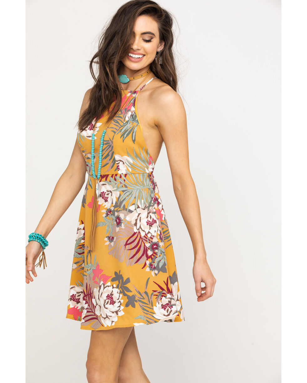 HYFVE Women's Mustard Tropical Floral Open Back Dress, Dark Yellow, hi-res