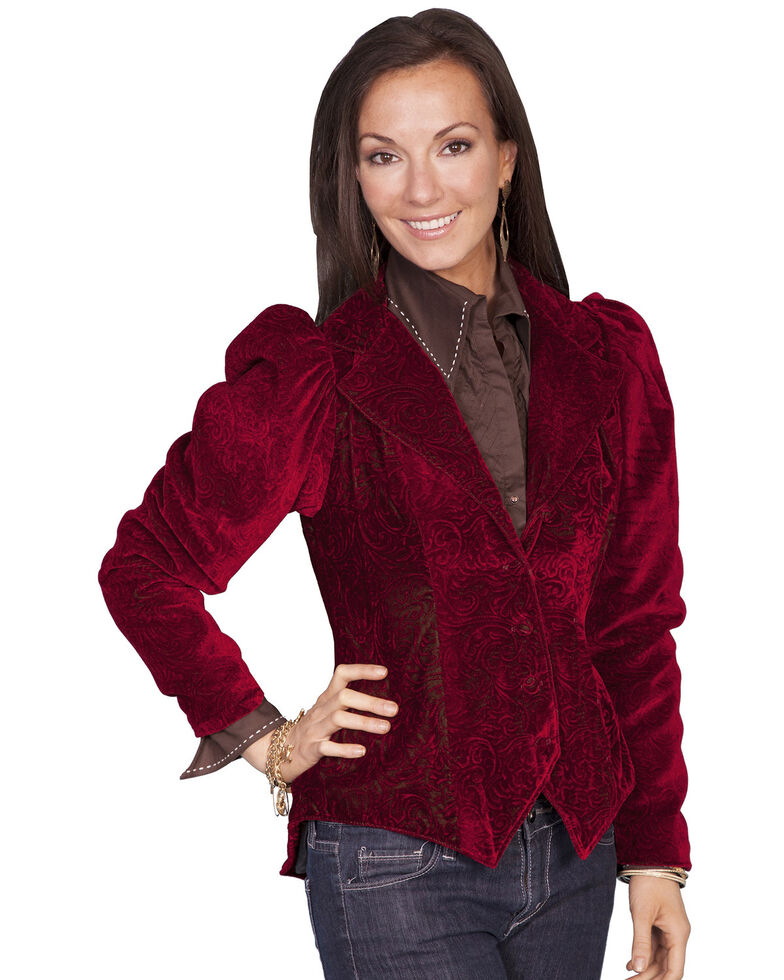 WahMaker by Scully Women's Embossed Velvet Coat, Red, hi-res