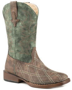 Roper Boys' Cross Cut Cowboy Boots - Square Toe, Brown, hi-res