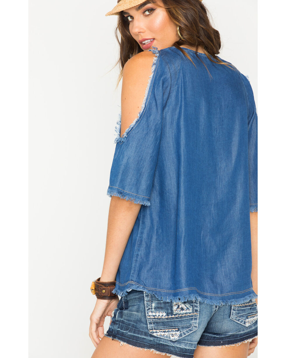 Glam Women's Unfinished Hem Cold Shoulder Top , Indigo, hi-res
