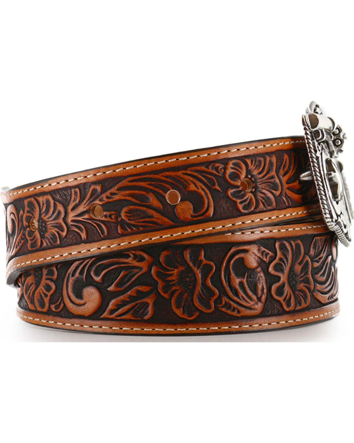 Tony Lama Kids Cowboy Western Sheriff Genuine Tooled Leather  Belt USA Made New