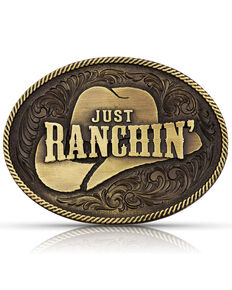 Montana Silversmiths Men's Dale Brisby Just Ranchin' Belt Buckle, Bronze, hi-res