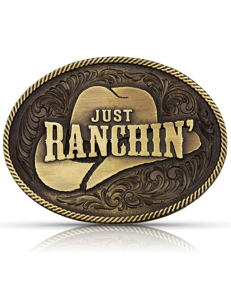 Montana Silversmiths Men's Dale Brisby Just Ranchin' Belt Buckle, Bronze, hi-res