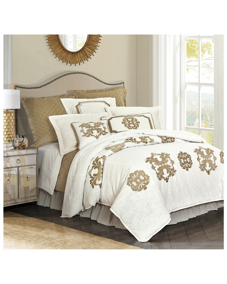HiEnd Accents Super King Oatmeal Madison Linen Duvet , Cream, hi-res