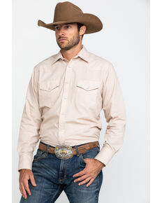Roper Men's Classic Tone Tan Solid Long Sleeve Western Shirt , Tan, hi-res