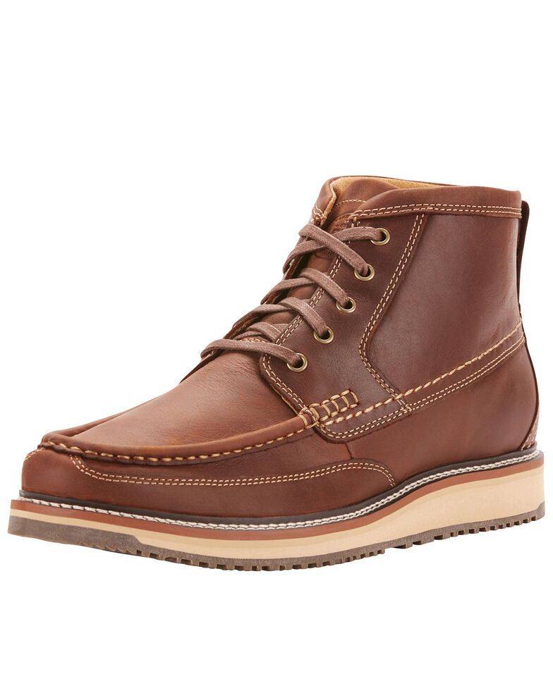 Ariat Men's Foothill Lookout Lace-Up Boots - Moc Toe, Brown, hi-res
