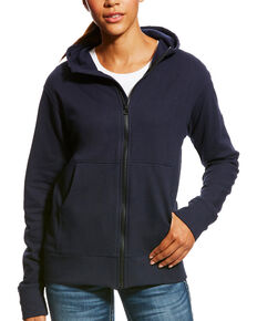Ariat Women's Navy FR Full Zip Hoodie , Navy, hi-res