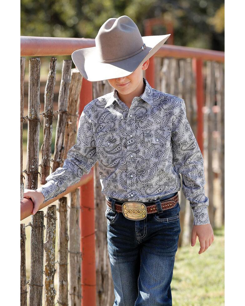 Cinch Boys' Grey Paisley Print Snap Long Sleeve Western Shirt , Grey, hi-res