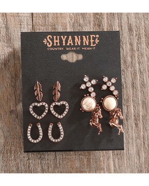 Shyanne Women's Multi-Stud Copper Bone Earring Set , Rust Copper, hi-res