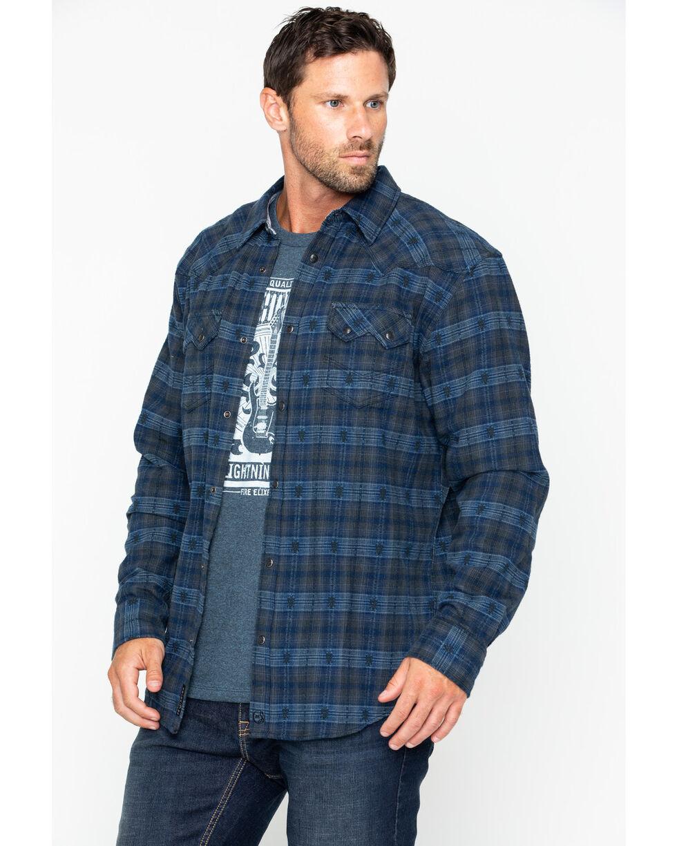 Moonshine Spirit Men's Crazy Horse Flannel Long Sleeve Western Shirt Jacket, Navy, hi-res