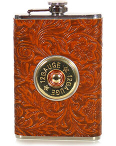 BB Ranch® 12 Gauge Tooled Flask, No Color, hi-res