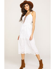 Wrangler Women's White Eyelet Button Down Midi Dress , White, hi-res