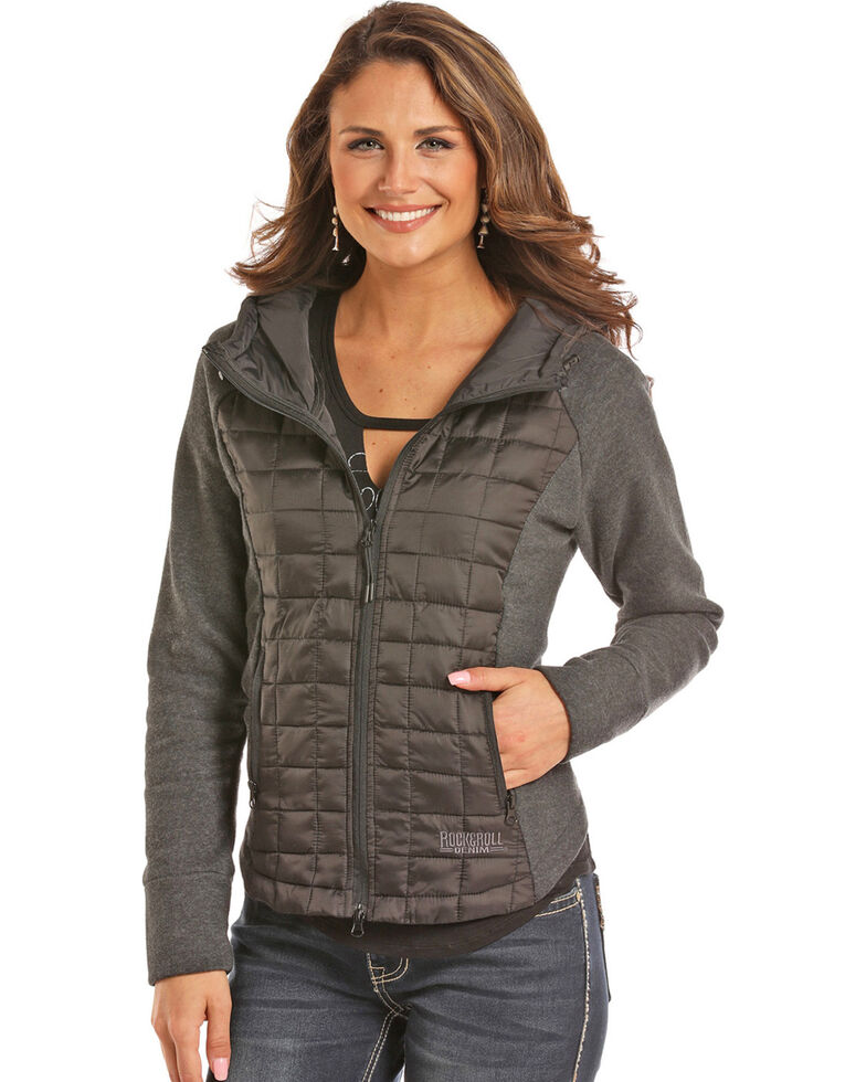 Powder River Womens Black Mixed Media Quilted Jacket Boot Barn