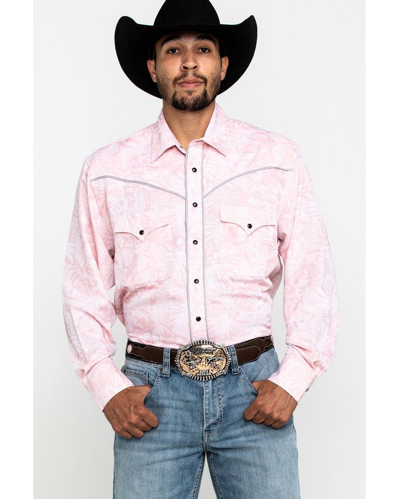 Resistol Men's Pink Floral Print Long Sleeve Western Shirt , Pink, hi-res