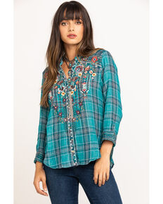 Johnny Was Women's Raquel Button Down Galena Plaid Top, Multi, hi-res