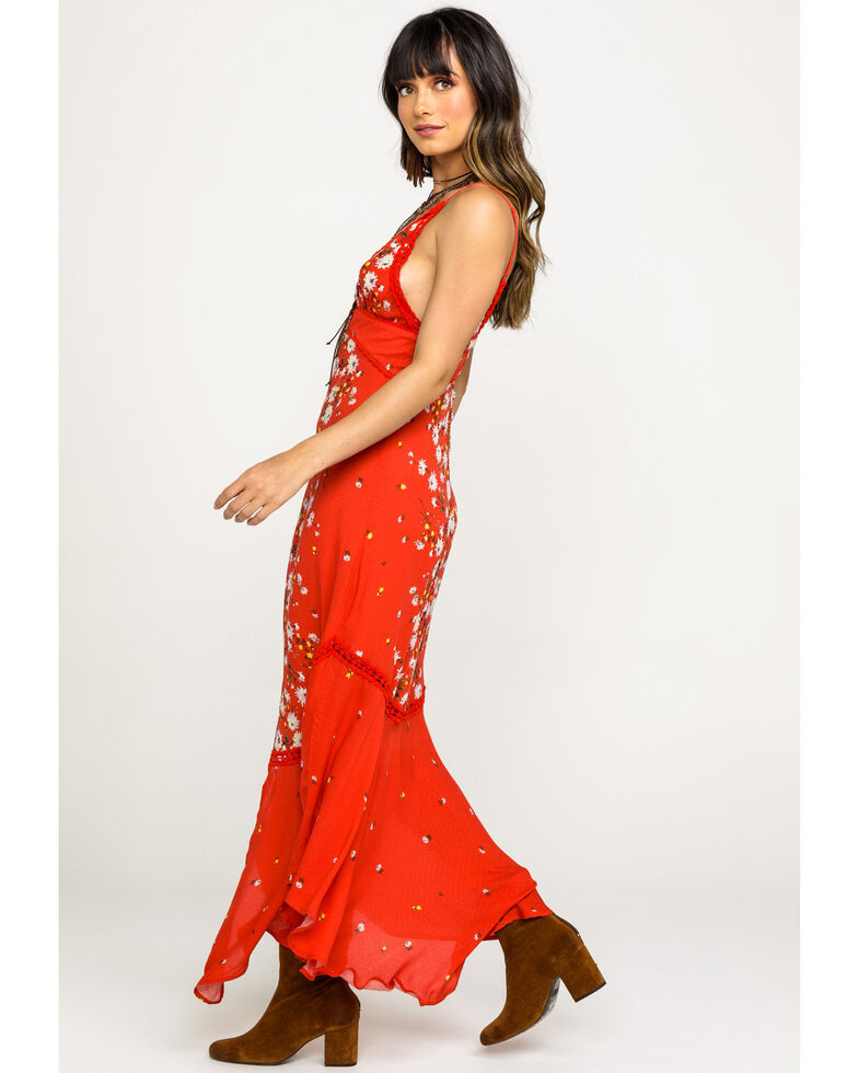 Free People Women's Red Paradise White Floral Maxi Dress, Red, hi-res