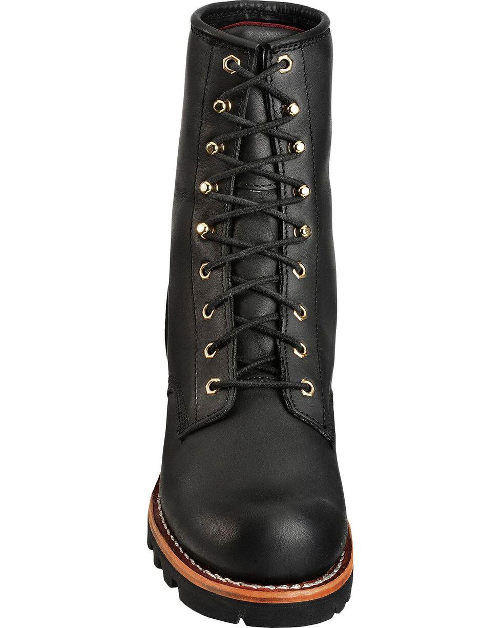 Chippewa Men's Steel Toe Logger Work Boots, Black, hi-res