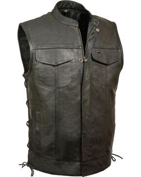 Milwaukee Leather Men's Side Lace Snap/Zip Front Club Style Vest , Black, hi-res