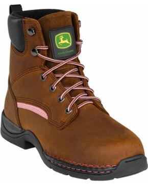 John Deere® Women's Steel Toe Lace-Up Boots, Brown, hi-res