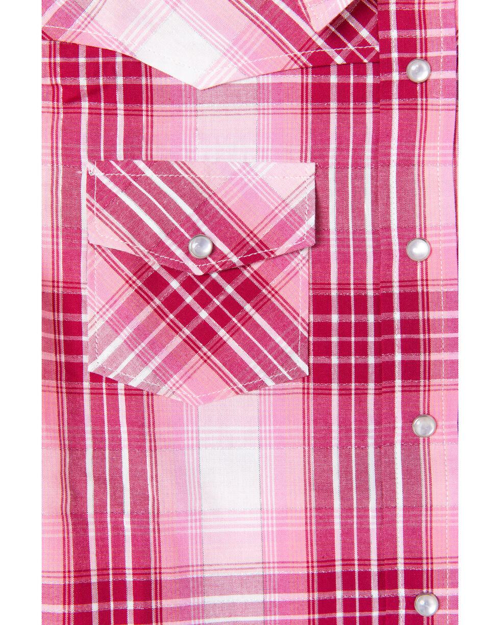 Shyanne Toddler Girls' Lurex Plaid Core Long Sleeve Western Shirt , Pink, hi-res