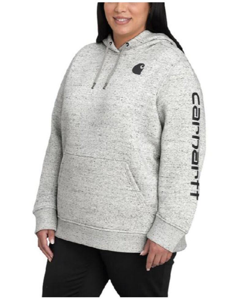 Carhartt Women's Heather Grey Clarksburg Sleeve Logo Hooded Sweatshirt - Plus, Natural, hi-res