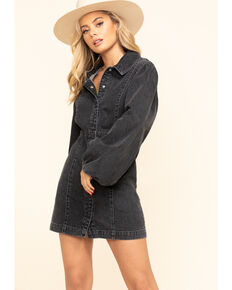 Free People Women's Black Denim Mia Dress, Black, hi-res