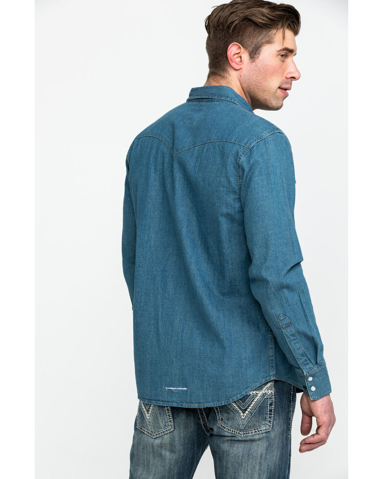 Levi's Men's Stonewash Denim Long Sleeve Western Shirt, , hi-res