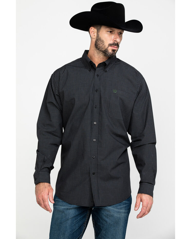 Cinch Men's Black Check Plaid Long Sleeve Western Shirt , Black, hi-res
