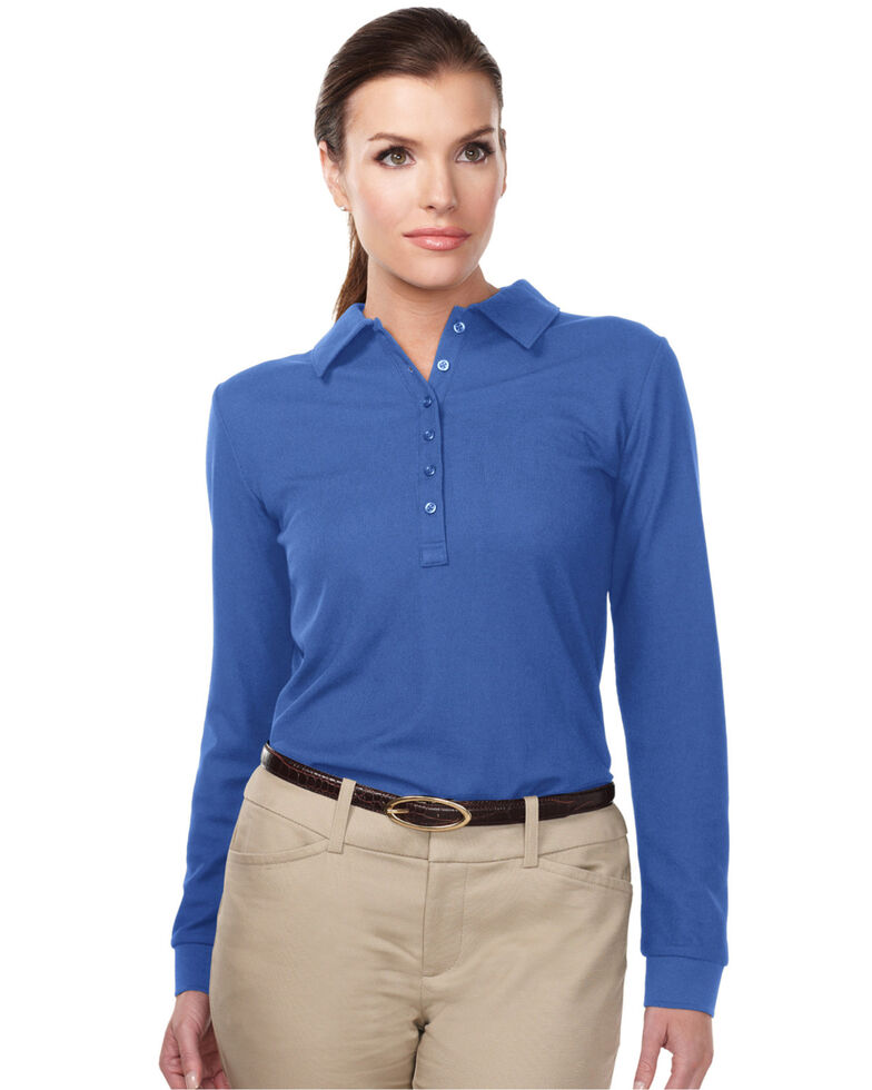 Tri-Mountain Women's Royal Blue 3X Stamina Long Sleeve Polo - Plus, Royal Blue, hi-res