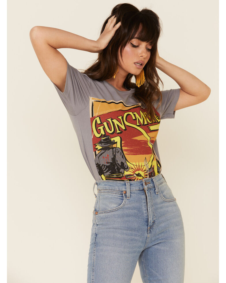 Bohemian Cowgirl Women's Gunsmoke Vintage Graphic Tee , Grey, hi-res