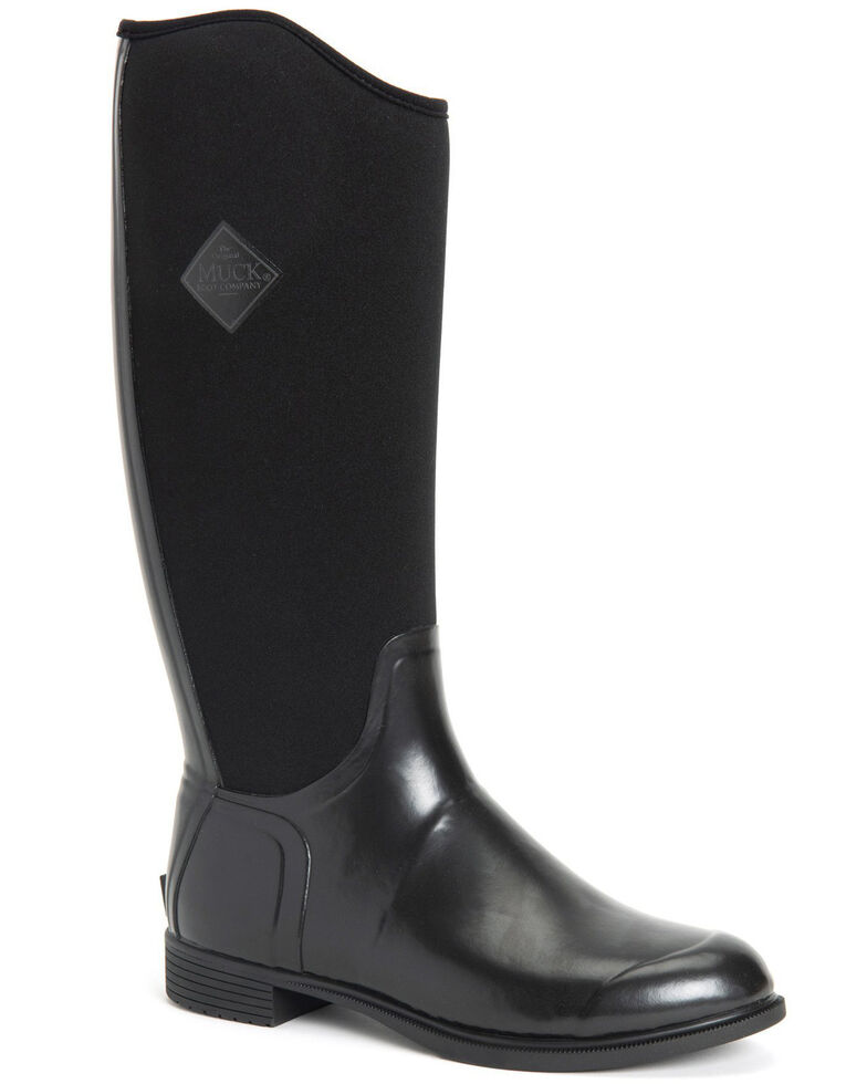 Muck Boots Women's Derby Tall Rubber Boots - Round Toe, Black, hi-res