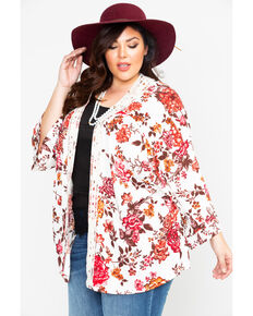 Eyeshadow Women's Floral Crochet Kimono- Plus Size, Ivory, hi-res