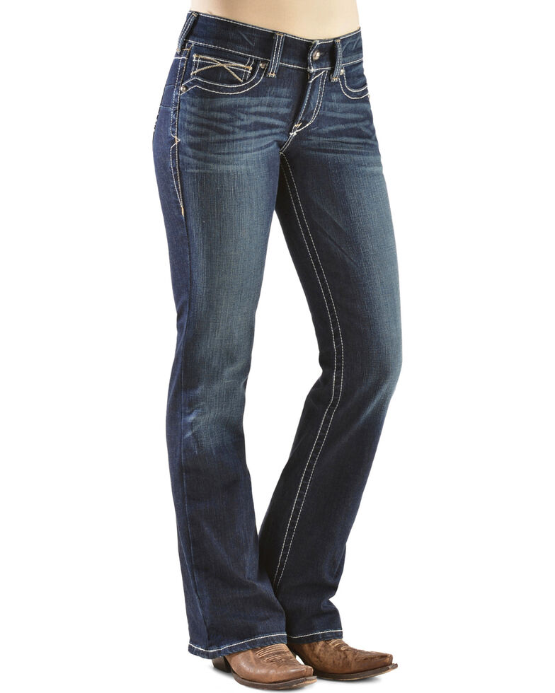 bbb61ba1d9e6d Zoomed Image Ariat Women's Real Denim Boot Cut Riding Jeans, Denim, hi-res