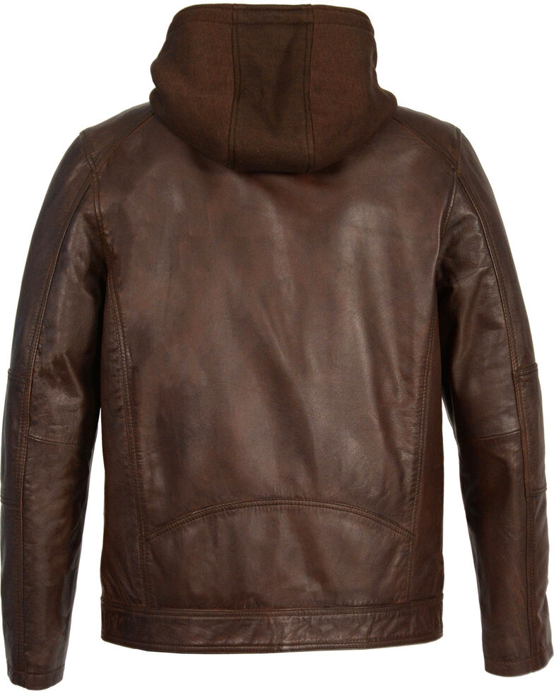 Milwaukee Leather Men's Snap Collar Leather Moto Jacket w/ Removable Hood - Big - 5X, Brown, hi-res