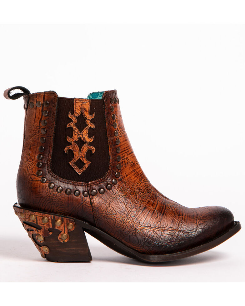 Corral Women's Studded & Crackled Booties - Round toe, Sand, hi-res